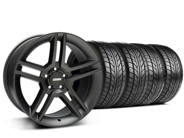 Staggered 2010 GT500 Style Matte Black Wheel & NITTO NT555 G2 Tire Kit - 19 in. - 3 Rear Options (05-14 All)