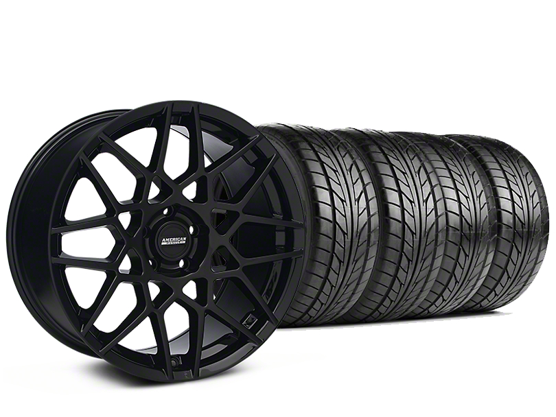 Staggered 2013 GT500 Style Gloss Black Wheel & NITTO NT555 G2 Tire Kit - 19 in. - 3 Rear Options (05-14 All)