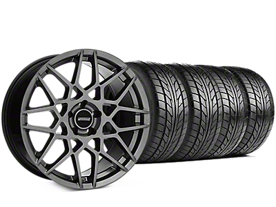 Staggered 2013 GT500 Style Hyper Dark Wheel & NITTO NT555 G2 Tire Kit - 19 in. - 3 Rear Options (05-14 All)