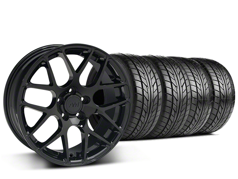 Staggered AMR Black Wheel & NITTO NT555 G2 Tire Kit - 19 in. - 3 Rear Options (05-14 All)