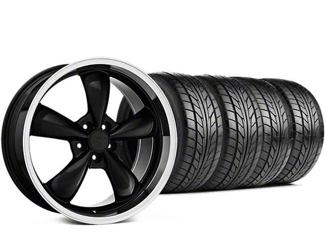 Staggered Bullitt Black Wheel & NITTO NT555 G2 Tire Kit - 19 in. - 3 Rear Options (05-14 V6, GT)