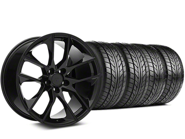 Staggered Magnetic Style Black Wheel & NITTO NT555 G2 Tire Kit - 19 in. - 3 Rear Options (05-14 All)
