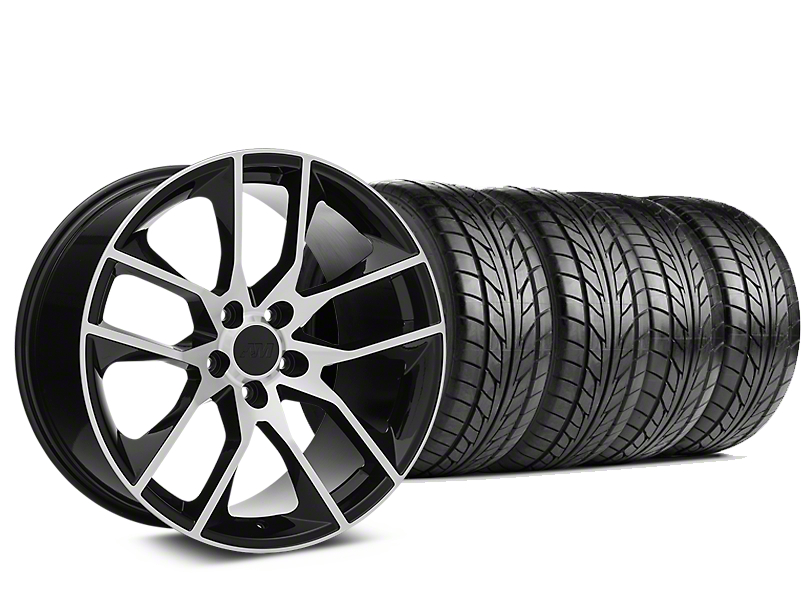 Staggered Magnetic Style Black Machined Wheel & NITTO NT555 G2 Tire Kit - 19 in. - 3 Rear Options (05-14 All)