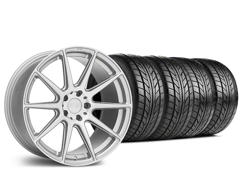 Staggered Niche Essen Silver Wheel & NITTO NT555 G2 Tire Kit - 19 in. - 3 Rear Options (05-14 All)