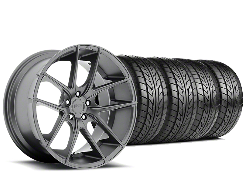 Staggered Niche Targa Matte Anthracite Wheel & NITTO NT555 G2 Tire Kit - 19 in. - 3 Rear Options (05-14 All)