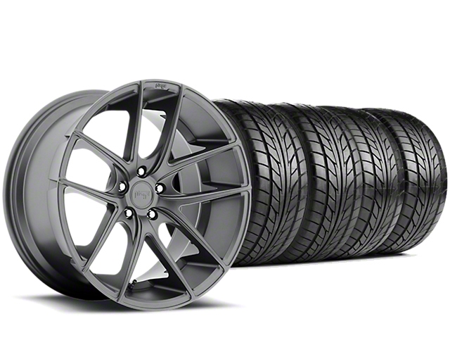 Staggered Niche Targa Matte Anthracite Wheel & NITTO NT555 G2 Tire Kit - 19x8/10 (05-14 All)
