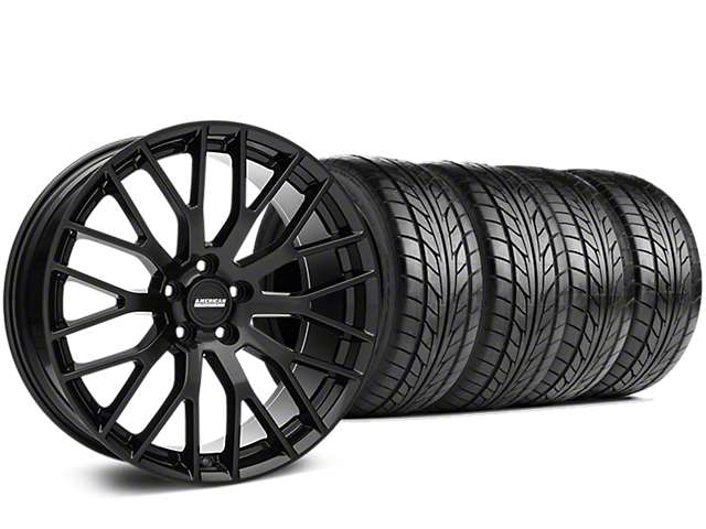 Staggered Performance Pack Style Black Wheel & NITTO NT555 G2 Tire Kit - 19 in. - 3 Rear Options (05-14 All)