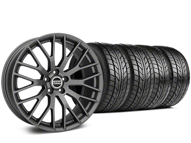 Staggered Performance Pack Style Charcoal Wheel & NITTO NT555 G2 Tire Kit - 19 in. - 3 Rear Options (05-14 All)