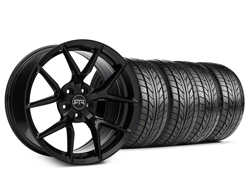 Staggered RTR Tech 5 Black Wheel & NITTO NT555 G2 Tire Kit - 19x9.5/10.5 (05-14 All)