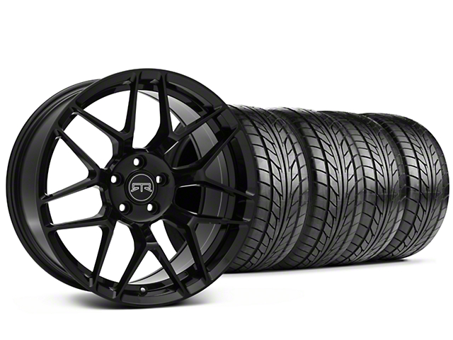 Staggered RTR Tech 7 Gloss Black Wheel and NITTO NT555 G2 Tire Kit; 19x9.5/10.5 (05-14 All)
