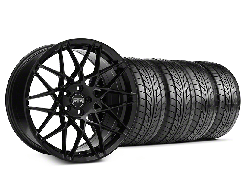 Staggered RTR Tech Mesh Black Wheel and NITTO NT555 G2 Tire Kit; 19x9.5/10.5 (05-14 Standard GT, V6)