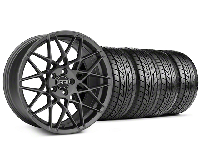 Staggered RTR Tech Mesh Charcoal Wheel & NITTO NT555 G2 Tire Kit - 19x9.5/10.5 (05-14 Standard GT, V6)