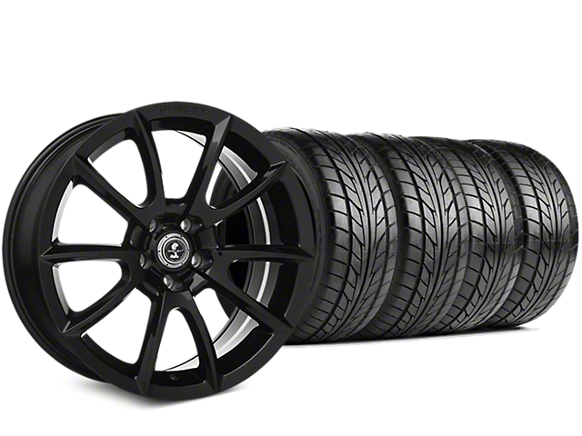 Staggered Shelby Super Snake Style Black Wheel & NITTO NT555 G2 Tire Kit - 19 in. - 3 Rear Options (05-14 All)