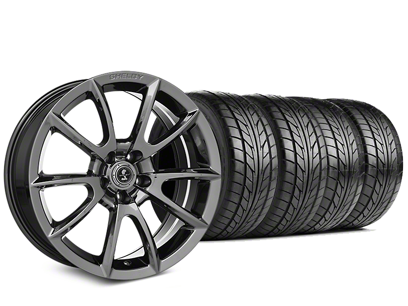 Staggered Shelby Super Snake Style Chrome Wheel & NITTO NT555 G2 Tire Kit - 19 in. - 3 Rear Options (05-14 All)