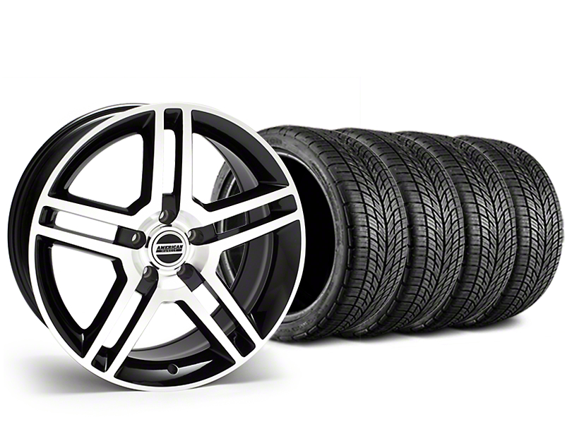 Staggered 2010 GT500 Style Black Machined Wheel & BF Goodrich G-FORCE COMP 2 Tire Kit - 19x8.5/10 (05-14 All)