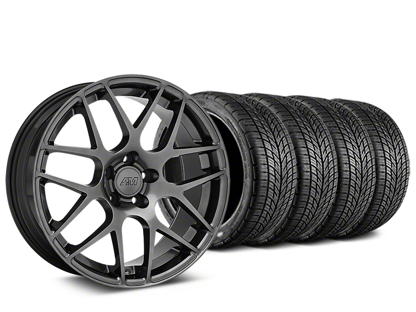 Staggered AMR Dark Stainless Wheel & BF Goodrich G-FORCE COMP 2 Tire Kit - 19x8.5/11 (05-14 All)
