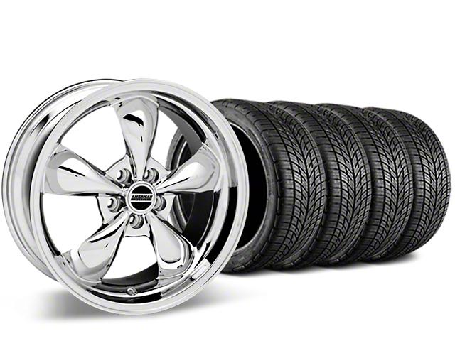 Staggered Bullitt Chrome Wheel & BF Goodrich G-FORCE COMP 2 Tire Kit - 19x8.5/10 (05-14 GT, V6)