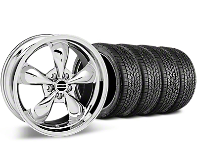 Staggered Bullitt Chrome Wheel & BF Goodrich G-FORCE COMP 2 Tire Kit - 19x8.5/10 (05-14 GT, V6)