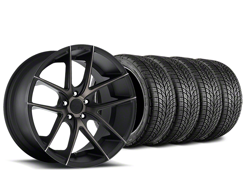 Staggered Niche Targa Matte Black Wheel & BF Goodrich G-FORCE COMP 2 Tire Kit - 19x8/10 (05-14 All)