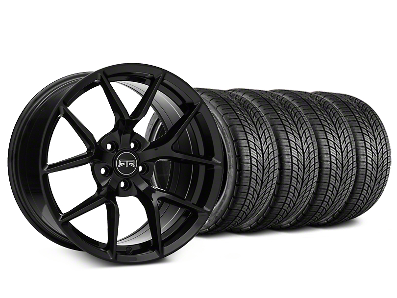 Staggered RTR Tech 5 Black Wheel & BF Goodrich G-FORCE COMP 2 Tire Kit - 19x9.5/10.5 (05-14 All)