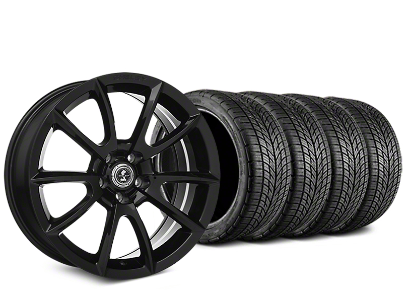 Staggered Shelby Super Snake Style Black Wheel & BF Goodrich G-FORCE COMP 2 Tire Kit - 19x8.5/10 (05-14 All)