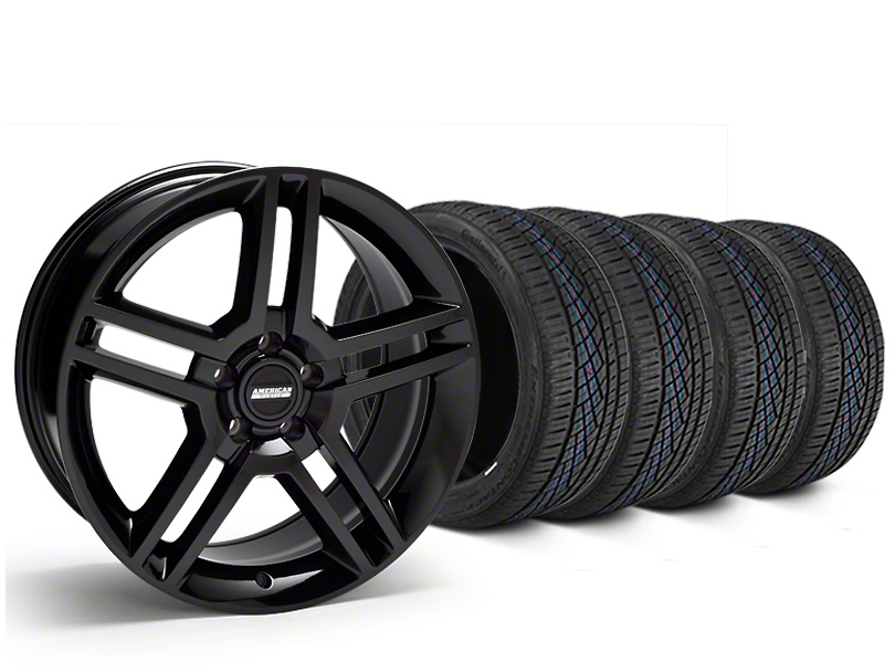 Staggered 2010 GT500 Style Black Wheel and Continental Extreme Contact DWS06 Tire Kit; 19x8.5/10 (05-14 All)