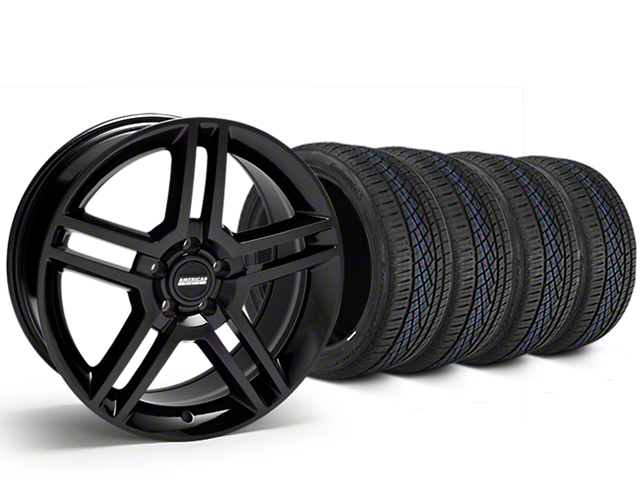 Staggered 2010 GT500 Style Black Wheel & Continental Extreme Contact DWS06 Tire Kit - 19x8.5/10 (05-14 All)