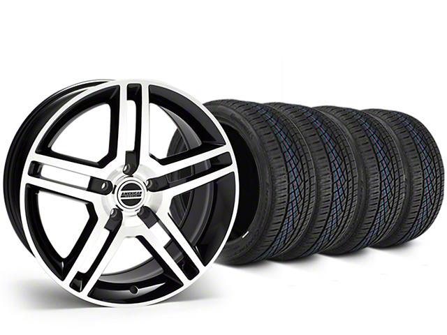 Staggered 2010 GT500 Style Black Machined Wheel & Continental Extreme Contact DWS06 Tire Kit - 19x8.5/10 (05-14 All)
