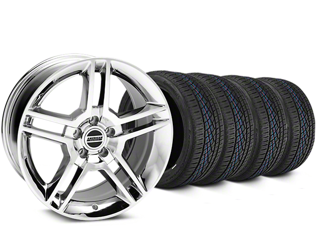 Staggered 2010 GT500 Style Chrome Wheel and Continental Extreme Contact DWS06 Tire Kit; 19x8.5/10 (05-14 All)