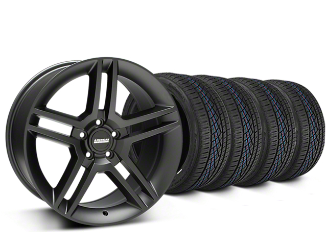 Staggered 2010 GT500 Style Matte Black Wheel & Continental Extreme Contact DWS06 Tire Kit - 19x8.5/10 (05-14 All)