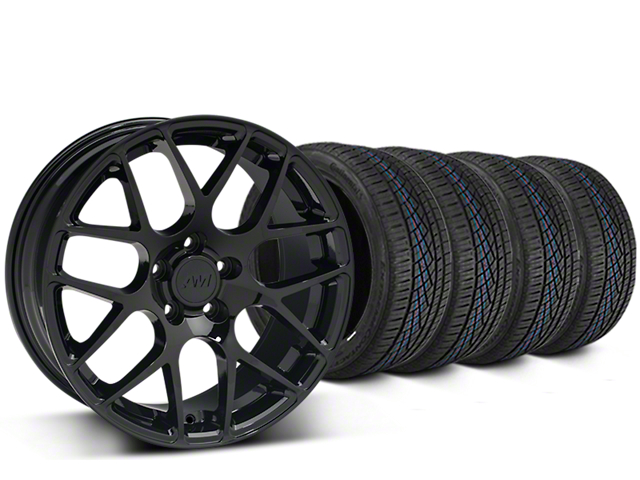 Staggered AMR Black Wheel and Continental Extreme Contact DWS06 Tire Kit; 19x8.5/11 (05-14 All)