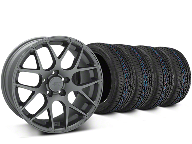 Staggered AMR Charcoal Wheel & Continental Extreme Contact DWS06 Tire Kit - 19x8.5/11 (05-14 All)