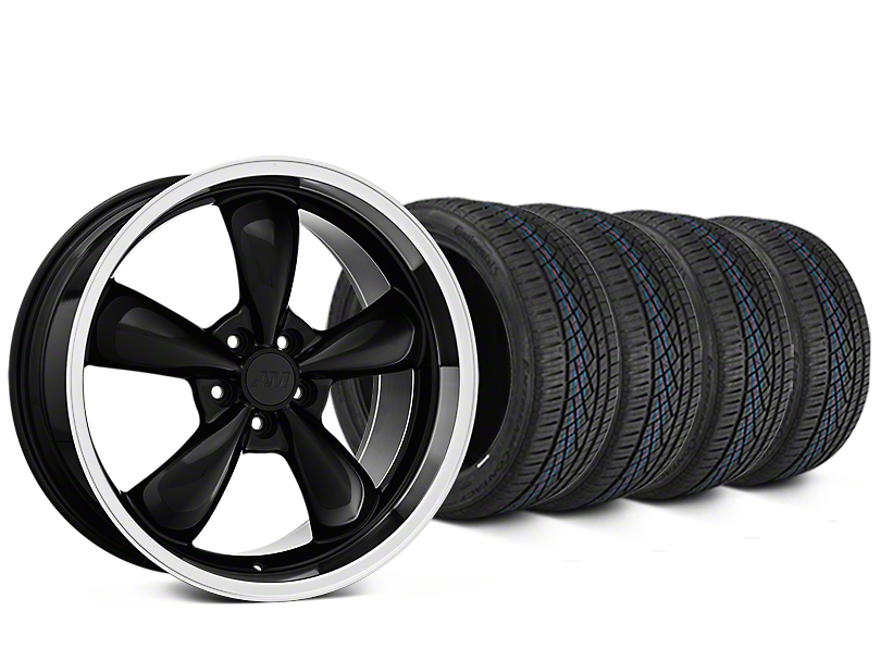 Staggered Bullitt Black Wheel & Continental Extreme Contact DWS06 Tire Kit - 19x8.5/10 (05-14 Standard GT, V6)