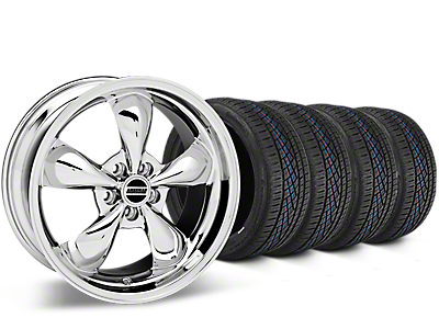 Staggered Bullitt Chrome Wheel & Continental Extreme Contact DWS06 Tire Kit - 19x8.5/10 (05-14 Standard GT, V6)