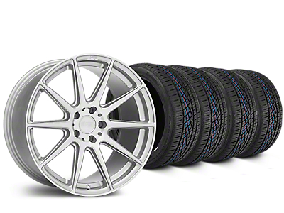 Staggered Niche Essen Silver Wheel & Continental Extreme Contact DWS06 Tire Kit - 19x8.5/10 (05-14 All)