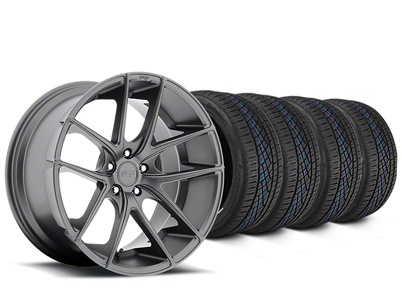 Staggered Niche Targa Matte Anthracite Wheel & Continental Extreme Contact DWS06 Tire Kit - 19x8/10 (05-14 All)