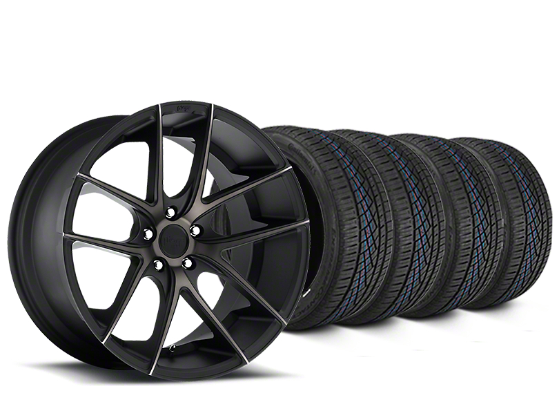 Staggered Niche Targa Matte Black Wheel and Continental Extreme Contact DWS06 Tire Kit; 19x8/10 (05-14 All)