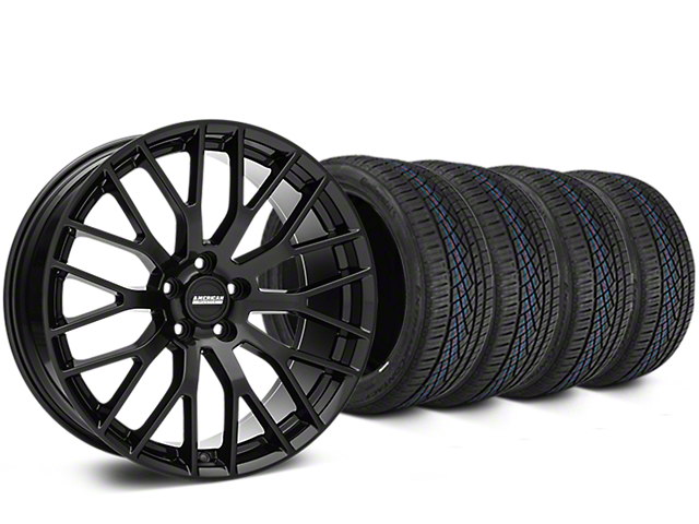 Staggered Performance Pack Style Black Wheel & Continental Extreme Contact DWS06 Tire Kit - 19x8.5/10 (05-14 All)
