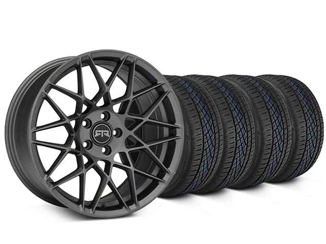 Staggered RTR Tech Mesh Charcoal Wheel and Continental Extreme Contact DWS06 Tire Kit; 19x9.5/10.5 (05-14 Standard GT, V6)
