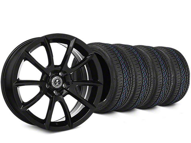 Staggered Shelby Super Snake Style Black Wheel and Continental Extreme Contact DWS06 Tire Kit; 19x8.5/10 (05-14 All)