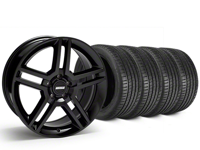 Staggered 2010 GT500 Style Black Wheel & Michelin Pilot Super Sport Tire Kit - 19 in. - 2 Rear Options (05-14 All)