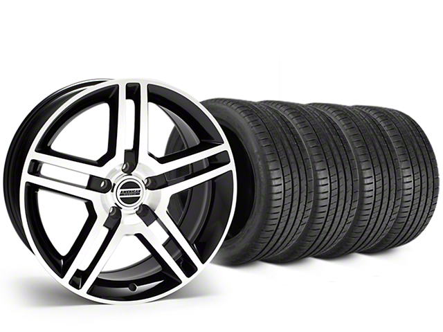 Staggered 2010 GT500 Style Black Machined Wheel & Michelin Pilot Super Sport Tire Kit - 19 in. - 2 Rear Options (05-14 All)