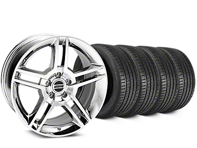 Staggered 2010 GT500 Style Chrome Wheel & Michelin Pilot Super Sport Tire Kit - 19 in. - 2 Rear Options (05-14 All)