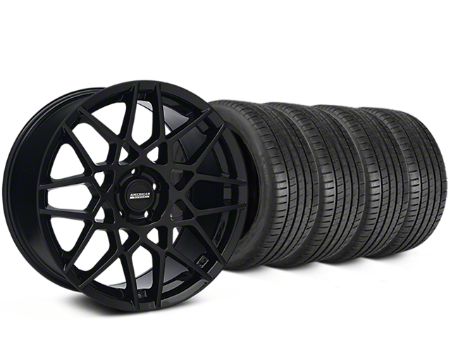 Staggered 2013 GT500 Style Gloss Black Wheel & Michelin Pilot Super Sport Tire Kit - 19 in. - 2 Rear Options (05-14 All)
