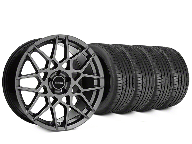 Staggered 2013 GT500 Style Hyper Dark Wheel & Michelin Pilot Super Sport Tire Kit - 19 in. - 2 Rear Options (05-14 All)