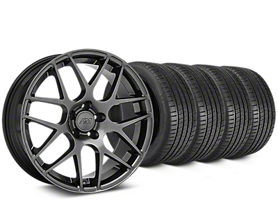 Staggered AMR Dark Stainless Wheel & Michelin Pilot Super Sport Tire Kit - 19 in. - 2 Rear Options (05-14 All)