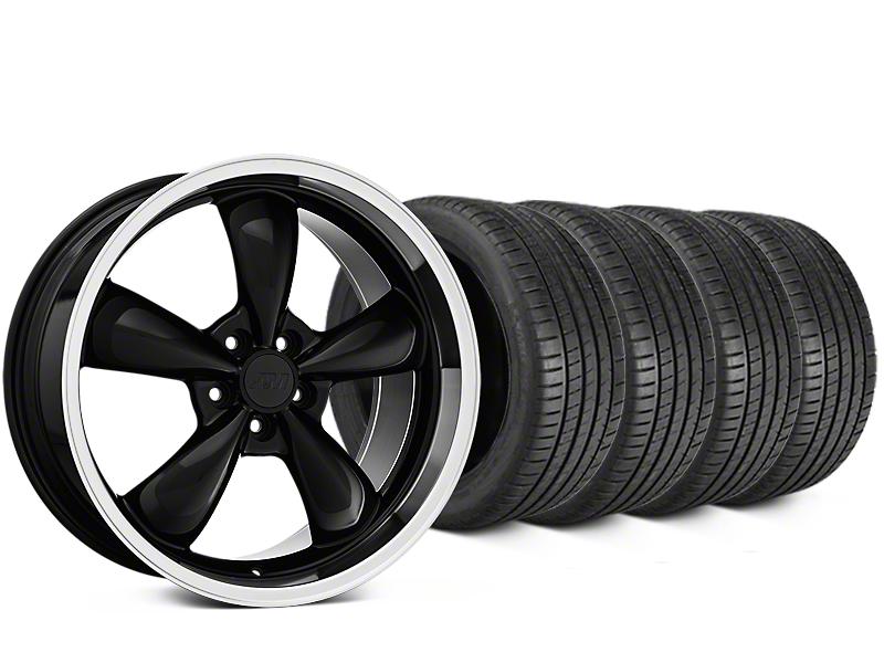 Staggered Bullitt Black Wheel & Michelin Pilot Super Sport Tire Kit - 19 in. - 2 Rear Options (05-14 Standard GT, V6)