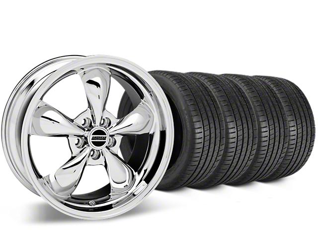 Staggered Bullitt Chrome Wheel & Michelin Pilot Super Sport Tire Kit - 19 in. - 2 Rear Options (05-14 Standard GT, V6)
