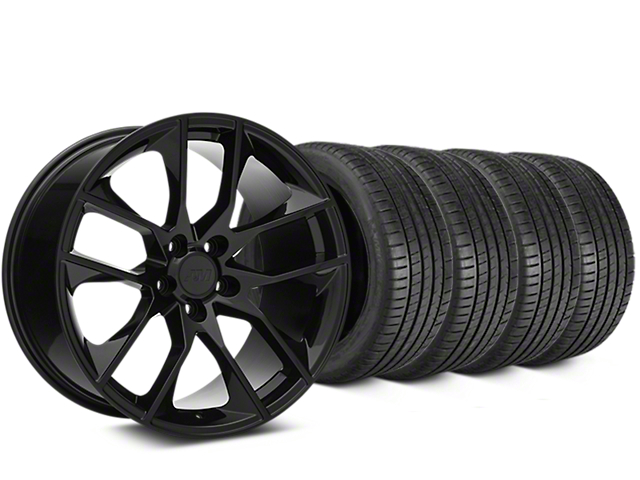 Staggered Magnetic Style Black Wheel & Michelin Pilot Super Sport Tire Kit - 19 in. - 2 Rear Options (05-14 All)