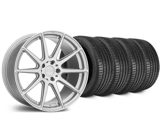 Staggered Niche Essen Silver Wheel & Michelin Pilot Super Sport Tire Kit - 19 in. - 2 Rear Options (05-14 All)